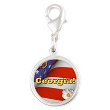 Georgia with American Flag Silver Round Charm