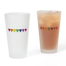Seven Rainbow Colored Hearts Drinking Glass
