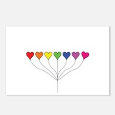 Seven Rainbow Colored Hea Postcards (Package of 8)