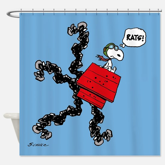 Flying Ace Rats  Shower Curtain. Snoopy Shower Curtains   CafePress