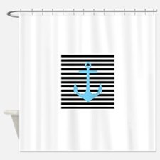 Blue Anchor on Black and White Stripes Shower Curt