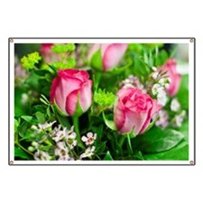 Pink Roses Bouquet Banner