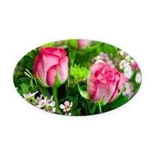 Pink Roses Bouquet Oval Car Magnet
