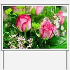 Pink Roses Bouquet Yard Sign