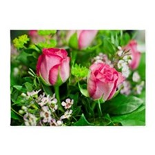 Pink Roses Bouquet 5'x7'Area Rug