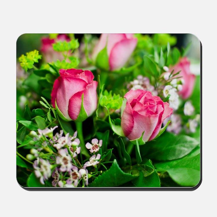 Pink Roses Bouquet Mousepad