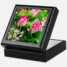 Pink Roses Bouquet Keepsake Box