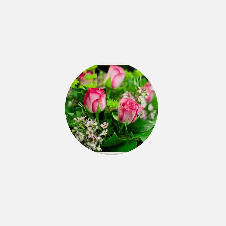 Pink Roses Bouquet Mini Button