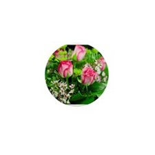 Pink Roses Bouquet Mini Button (10 pack)