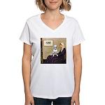Mom's Bull Terrier (#1) Women's V-Neck T-Shirt