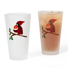 Red Cardinal Bird Art Drinking Glass