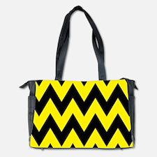 Yellow and Black Bumblebee Chevron Diaper Bag