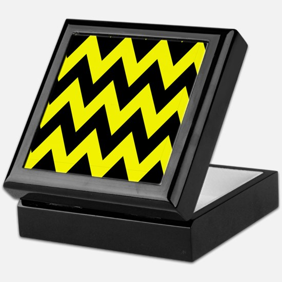 Yellow and Black Bumblebee Chevron Keepsake Box