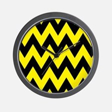 Yellow and Black Bumblebee Chevron Wall Clock