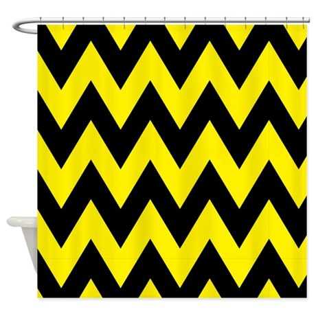 yellow and black bumblebee chevron shower curtain by thetestshop. Black Bedroom Furniture Sets. Home Design Ideas