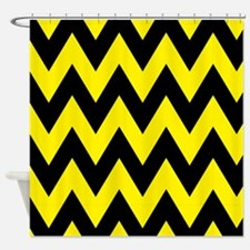 Yellow and Black Bumblebee Chevron Shower Curtain