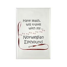Elkhound Travel Leash Rectangle Magnet