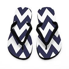 Blue and White Chevron Zig Zag Flip Flops