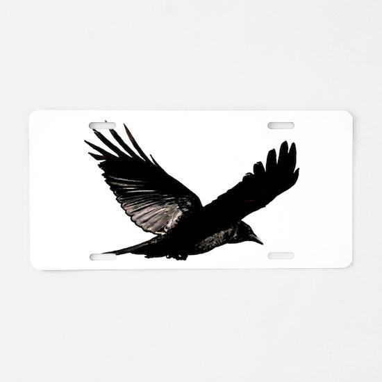 Black Bird Flying Aluminum License Plate