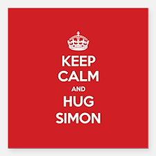 "Hug Simon Square Car Magnet 3"" x 3"""