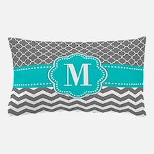 Gray Blue Chevron Monogram Pillow Case