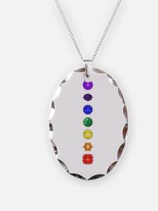 Chakras-7-Vert Necklace Oval Charm