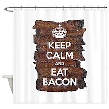 Keep Calm Eat Bacon Shower Curtain