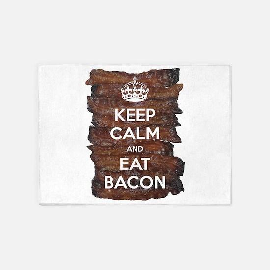 Keep Calm Eat Bacon 5'x7'Area Rug