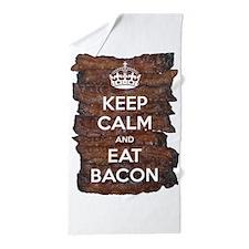 Keep Calm Eat Bacon Beach Towel