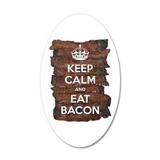 Keep Calm Eat Bacon 35x21 Oval Wall Decal