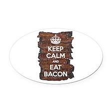 Keep Calm Eat Bacon Oval Car Magnet
