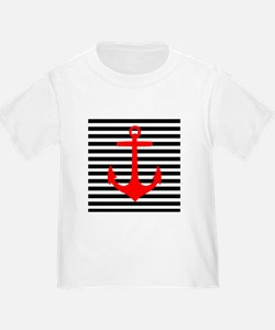Red Anchor on Black and White Stripes T-Shirt