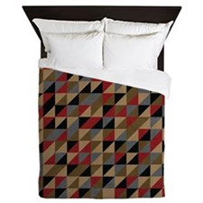 Earthy Aztec Tribal Geometric Pattern Queen Duvet