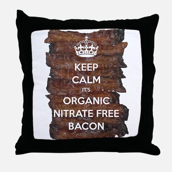 Keep Calm Organic Bacon Throw Pillow