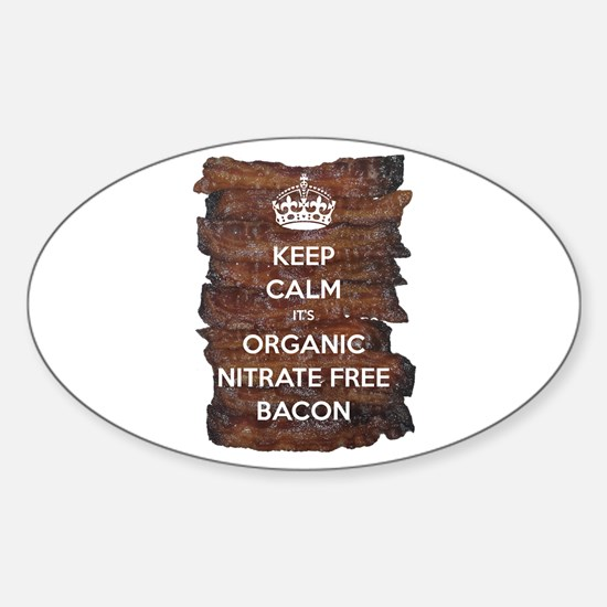 Keep Calm Organic Bacon Sticker (Oval)
