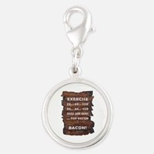 Exercise Bacon Silver Round Charm