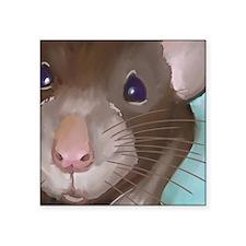 "Cute rat face Square Sticker 3"" x 3"""