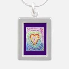Rainbow Heart Cancer Silver Portrait Necklace