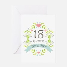 18th Anniversary flowers and hearts Greeting Card