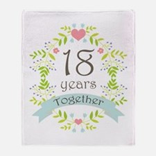 18th Anniversary flowers and hearts Throw Blanket