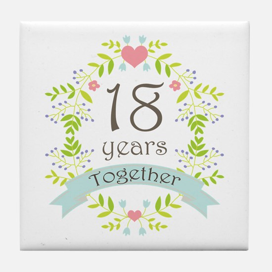 18th Anniversary flowers and hearts Tile Coaster