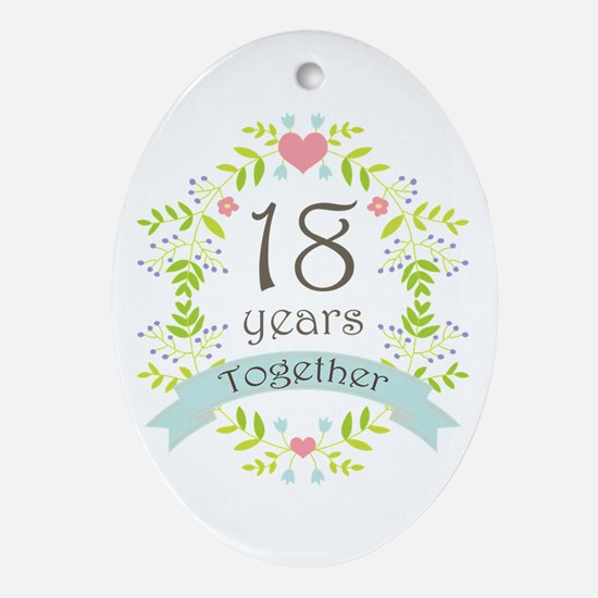 18th Anniversary flowers and heart Ornament (Oval)