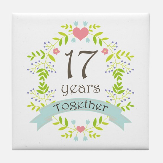 17th Anniversary flowers and hearts Tile Coaster