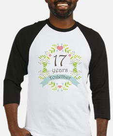 17th Anniversary flowers and heart Baseball Jersey