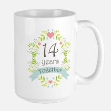 14th Anniversary flowers and hearts Mug