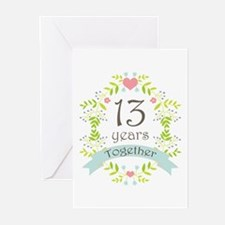 13th Anniversary flowers Greeting Cards (Pk of 10)