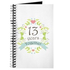 13th Anniversary flowers and hearts Journal