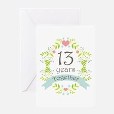 13th Anniversary flowers and hearts Greeting Card