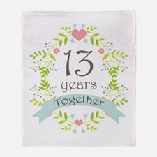 13th Anniversary flowers and hearts Throw Blanket