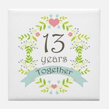 13th Anniversary flowers and hearts Tile Coaster